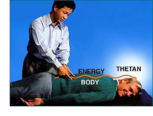 Showing man getting nerve assist and the energy flowing through his body