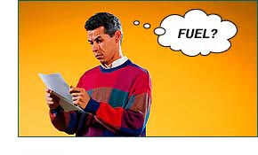 Man not understanding 'fuel'