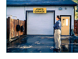 Jones looking at his empty garage